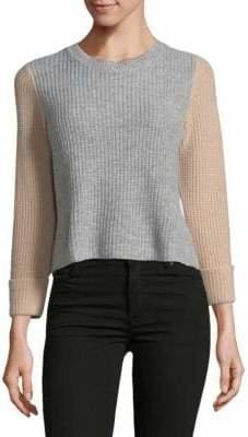 Autumn Cashmere Crop Colourblock Cashmere Sweater