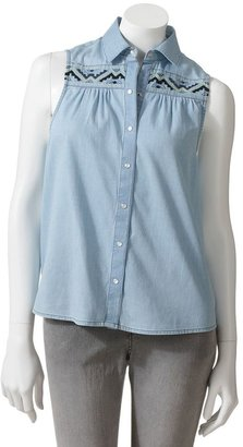 Mudd embroidered button-front denim tank
