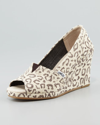 Toms Snow Leopard Peep-Toe Wedge