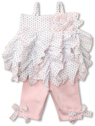 Kate Mack Pin Dot Ruffle Tunic and Legging Set (Infant) (White/Black) - Apparel