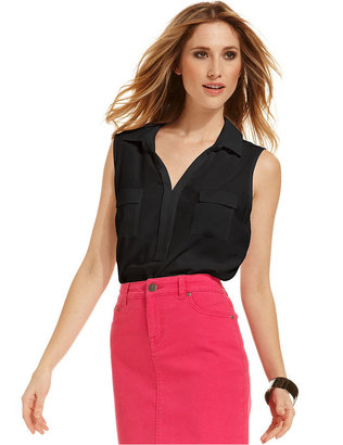 Style&Co. Top, Sleeveless Point-Collar Blouse