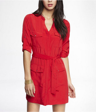Express Military Pocket Convertible Sleeve Shirt Dress