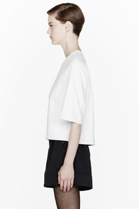 3.1 Phillip Lim Ivory Cropped Silk Bind T-Shirt