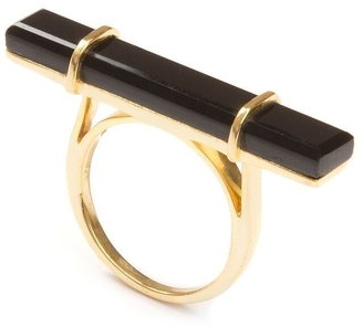 Jewel Tree London Urban Bar Ring Black Onyx