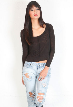 Singer22 Seamed Flounce Tee in Black - by Chaser