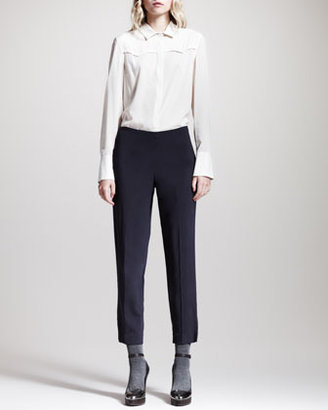 Brunello Cucinelli Relaxed Cropped Side-Zip Pants