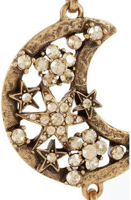 Oscar de la Renta Lunar gold-plated crystal clip earrings