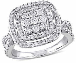 CONCERTO Double Halo 10k White Gold Engagement Ring with 1 TCW Diamond