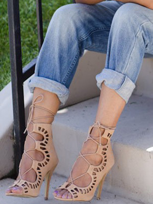 Camel Suede Peep Toe Tie Up Sandals
