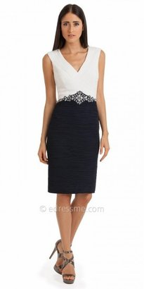 Sleeveless Pleated Jeweled Waist Cocktail Dresses by JS Collection