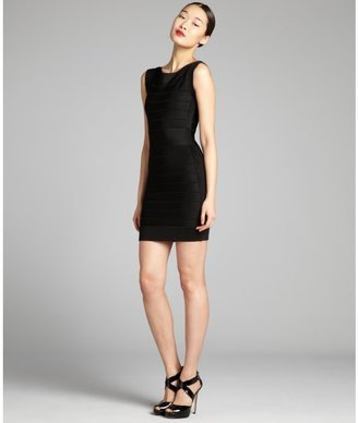 French Connection black jersey knit cap sleeve bandage dress