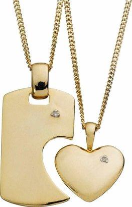 Moon & Back Linking Diamond Pendant 18 Inch Necklace Set