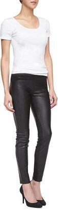 Blank Faux-Leather Paneled Leggings, Black