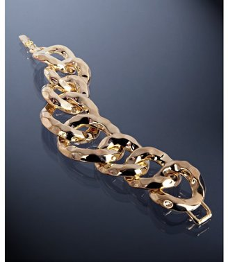 Kenneth Jay Lane gold hammered chain link bracelet