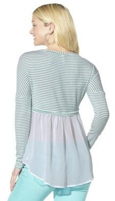 Xhilaration Junior's Chiffon Back Top - Jade