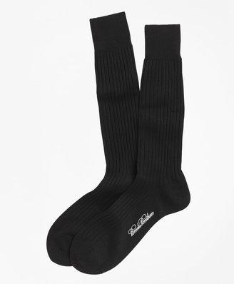 Brooks Brothers Egyptian Cotton Ribbed Crew Socks