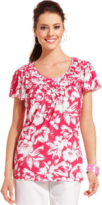 Style&Co. Top, Cap-Sleeve Floral-Print Basketweave Collar