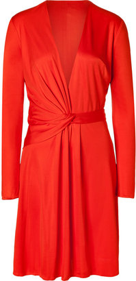 Issa Fire Red Draped Front Silk Dress