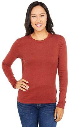 Three Dots 100% Cotton Heritage Knit Long Sleeve Crewneck (Fired Brick) Women's Clothing