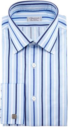 Charvet Striped French-Cuff Dress Shirt, Blue