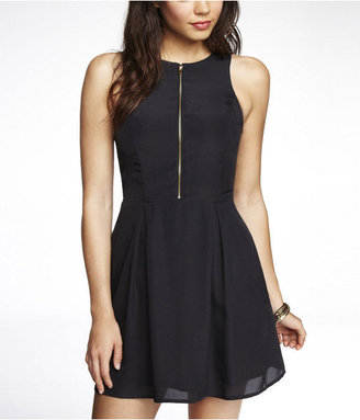 Express Pleated Zip Front Fit And Flare Dress