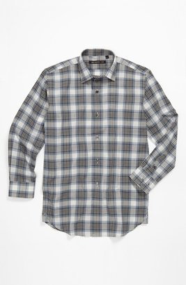 John Varvatos Plaid Woven Shirt (Big Boys) Grey/ Blue Plaid 8
