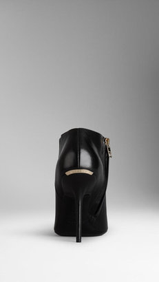 Burberry Peep-Toe Leather Ankle Boots