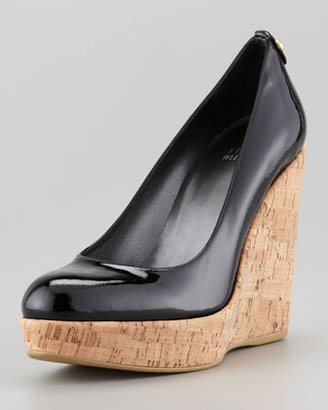 Stuart Weitzman Corkswoon Patent Leather Cork Wedge Heel