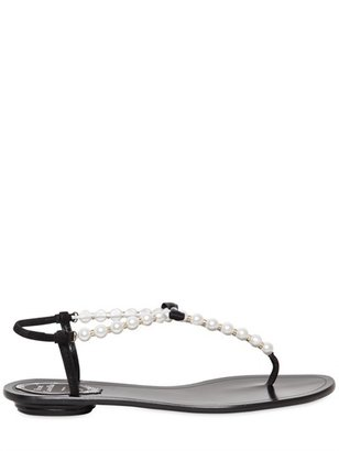 Rene Caovilla 10mm Pearls Bow Suede Sandals