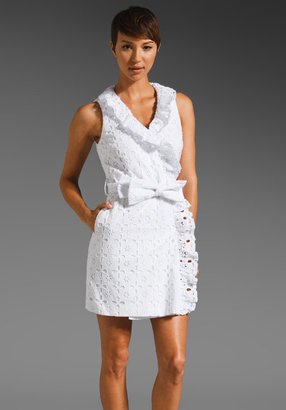 Milly Floral Eyelet Ruffle Wrap Dress