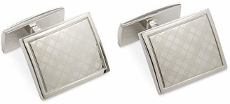 Ryan Seacrest Distinction Polished Rhodium Laser Engraved Plaid Cufflink