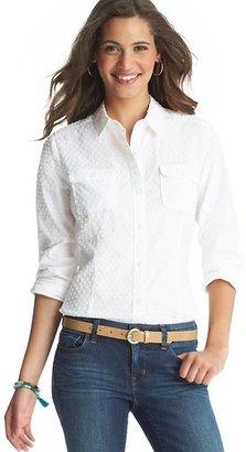 LOFT Swiss Dot Cotton Button Down Shirt