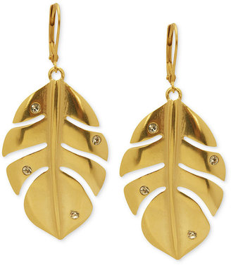 T Tahari Earrings, 14k Gold-Plated Crystal Leaf Drop Earrings
