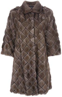 Milusha Harlequin Shape Dark Pastel Mink Coat