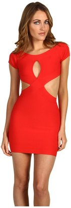 BCBGMAXAZRIA Reed Front Keyhole Dress (Red Berry) - Apparel