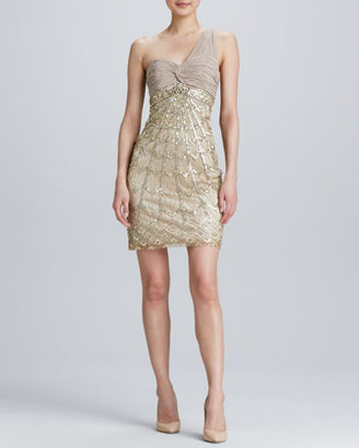 Sue Wong One-Shoulder Beaded Cocktail Dress
