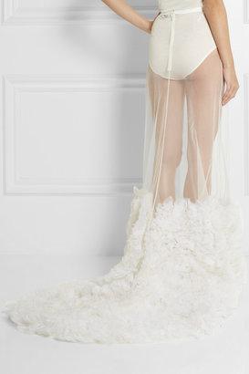 Erdem Miley organza-appliquéd tulle maxi skirt
