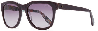 Lanvin Squared Sunglasses with Printed Lining, Burgundy