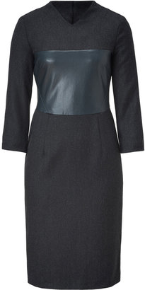 Cédric Charlier Charcoal Herringbone Sheath Dress
