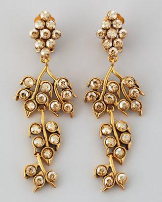 Oscar de la Renta Golden Crystal Shadow Vine Clip Earrings