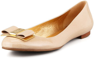 Kate Spade Trophy Bow Patent Leather Flat, Powder