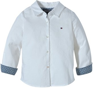 Tommy Hilfiger Girl's NEW GIRLS OXFORD MINI SHIRT L/S ET57117922 Blouse White - Wei (CLASSIC WHITE) 3 Years