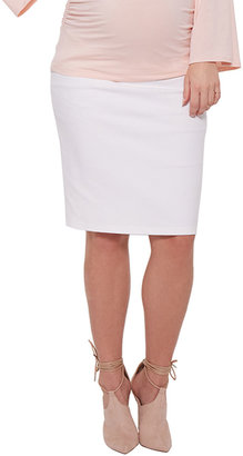 Stowaway Collection Maternity Maternity Stretch Denim Skirt with Belly Panel