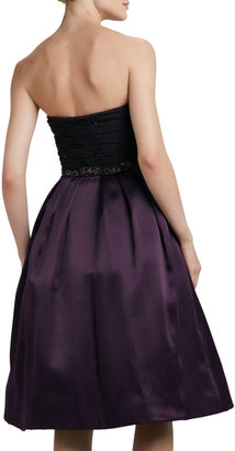 Pamella Roland Strapless Embroidered/Sequined Party Dress