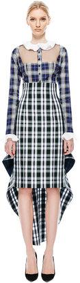 Natasha Zinko Pencil Check Flounce Skirt
