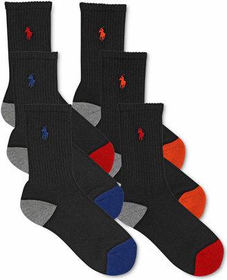 Ralph Lauren Boys' or Little Boys' 6-Pack Color-Blocked Crew Socks