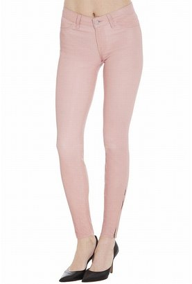 J Brand Mid-Rise Stretch Leather Pants In Blossom
