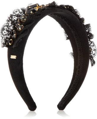 Dolce & Gabbana Embellished velvet headband