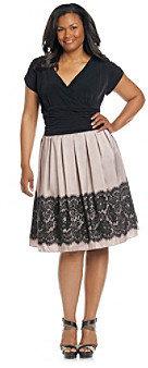 SL Fashions S.L. Fashions Plus Size Surplice Party Dress