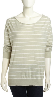 Joie Emari Striped Wool-Blend Sweater, Heather Limestone/Porcelain